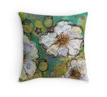 White Poppies Throw Pillow