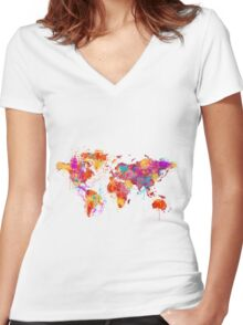 Mother Earth Crying Women's Fitted V-Neck T-Shirt