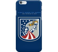 Patriots Day Greeting Card American Patriot Holding Up Torch Flag iPhone Case/Skin