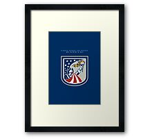 Patriots Day Greeting Card American Patriot Holding Up Torch Flag Framed Print