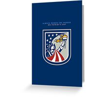 Patriots Day Greeting Card American Patriot Holding Up Torch Flag Greeting Card