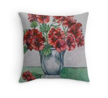Red pelargoniums 2012Ⓒ Oil on canvas Throw Pillow