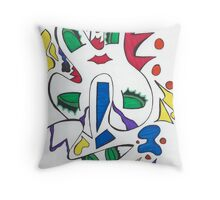 Greedy Eyes & Red Lips Throw Pillow