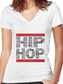 Hip Hop in White Women's Fitted V-Neck T-Shirt