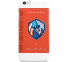 Patriots Day Greeting Card American Patriot Brandishing Flag iPhone Case/Skin