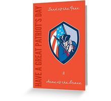 Patriots Day Greeting Card American Patriot Brandishing Flag Greeting Card