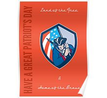Patriots Day Greeting Card American Patriot Brandishing Flag Poster