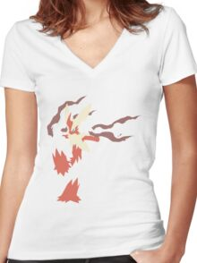 Mega Blaziken Women's Fitted V-Neck T-Shirt