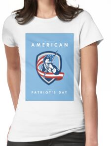 Patriots Day Greeting Card American Patriot Soldier Waving Flag Shield Womens Fitted T-Shirt