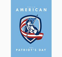 Patriots Day Greeting Card American Patriot Soldier Waving Flag Shield Unisex T-Shirt