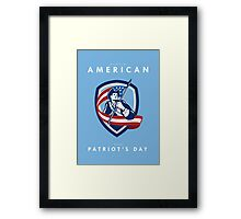 Patriots Day Greeting Card American Patriot Soldier Waving Flag Shield Framed Print