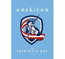 Patriots Day Greeting Card American Patriot Soldier Waving Flag Shield Photographic Print