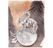 Werewolf Puppy Watercolor Painting Poster
