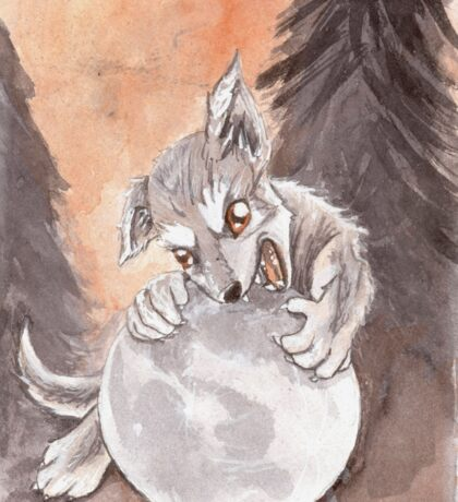 Werewolf Puppy Watercolor Painting Sticker