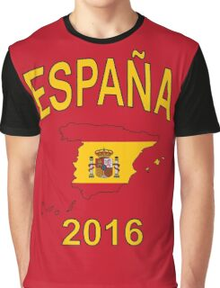 ESPAÑA 2016 - Spain Country Map Outline with Spanish Flag as Background - Yellow on Red Graphic T-Shirt