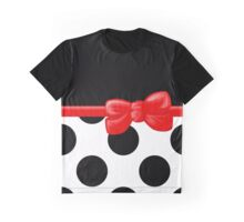 Ribbon, Bow, Polka Dots - Black White Red Graphic T-Shirt