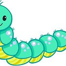 Cute cartoon caterpillar turquoise by Sandytov