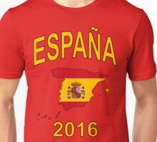 ESPAÑA 2016 - Spain Country Map Outline with Spanish Flag as Background - Yellow on Red Unisex T-Shirt