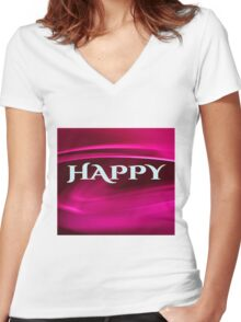 Life Mantra: Happy, Healthy, Wise, Wealthy Women's Fitted V-Neck T-Shirt