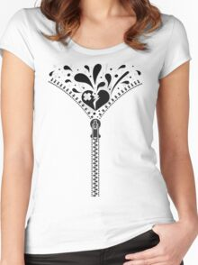 Zipper_Heart Women's Fitted Scoop T-Shirt