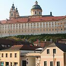 City of Melk and Stift Melk near the Danube, Wachau Austria by Ilan Cohen