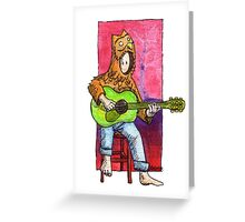 KMAY Hoodkid owl playing a guitar Greeting Card