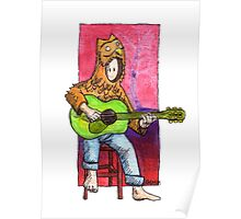 KMAY Hoodkid owl playing a guitar Poster