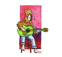 KMAY Hoodkid owl playing a guitar Photographic Print
