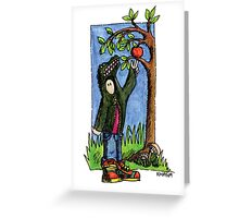 KMAY Hoodkid Croc picking an Apple Greeting Card