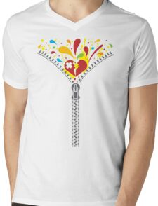 Zipper_Heart Mens V-Neck T-Shirt