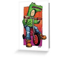 KMAY Hoodkid Croc on Bike Greeting Card