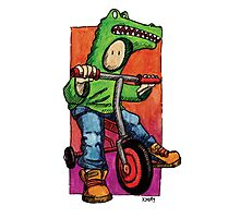 KMAY Hoodkid Croc on Bike Photographic Print