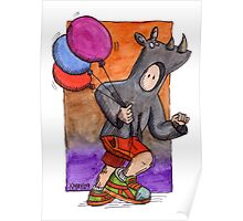 KMAY Hoodkid Rhino with Balloons Poster