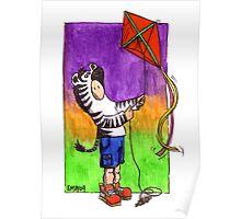 KMAY Hoodkid Zebra flying a Kite Poster