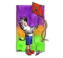 KMAY Hoodkid Zebra flying a Kite Photographic Print