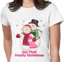 Snowman Snow Family First Christmas - Pink Womens Fitted T-Shirt