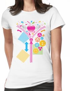 Zipper_Heart Womens Fitted T-Shirt
