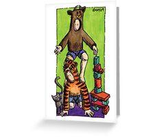 KMAY Hoodkid Bull Balancing on Tiger Greeting Card