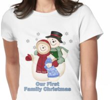 Snowman Snow Family First Christmas - Blue Womens Fitted T-Shirt