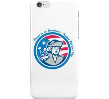 Patriots Day Greeting Card American Patriot Bust Stars and Stripes Flag iPhone Case/Skin