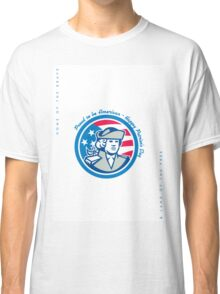 Patriots Day Greeting Card American Patriot Bust Stars and Stripes Flag Classic T-Shirt