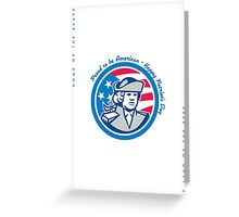 Patriots Day Greeting Card American Patriot Bust Stars and Stripes Flag Greeting Card