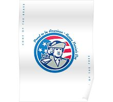 Patriots Day Greeting Card American Patriot Bust Stars and Stripes Flag Poster