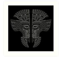 Dark Aztec Twins Mask Illusion Art Print