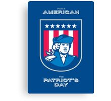Patriots Day Greeting Card American Patriot Bust Shield Canvas Print