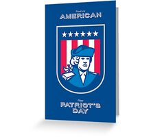 Patriots Day Greeting Card American Patriot Bust Shield Greeting Card