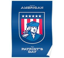 Patriots Day Greeting Card American Patriot Bust Shield Poster