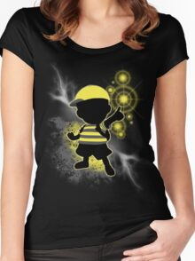 Super Smash Bros. Yellow/Black Ness Sihouette Women's Fitted Scoop T-Shirt
