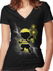 Super Smash Bros. Yellow/Black Ness Sihouette Women's Fitted V-Neck T-Shirt