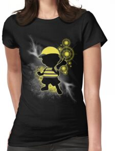 Super Smash Bros. Yellow/Black Ness Sihouette Womens Fitted T-Shirt